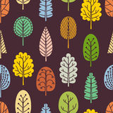 Seamless pattern with hand-drawn trees. Stock Image
