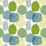 Seamless pattern with hand drawn trees on white background royalty free stock photography
