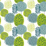 Seamless pattern with hand drawn trees on white background stock image