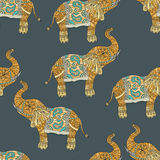Seamless pattern with hand-drawn tribal styled elephant. Vector ethnic background, zentangle Royalty Free Stock Photo
