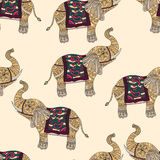 Seamless pattern with hand-drawn tribal styled elephant. Vector ethnic background, zentangle Stock Photography
