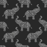 Seamless pattern with hand-drawn tribal styled elephant. Vector ethnic background, zentangle Royalty Free Stock Image