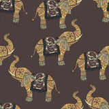 Seamless pattern with hand-drawn tribal styled elephant. Vector ethnic background, zentangle Stock Photos
