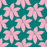 Seamless pattern with hand-drawn tropical flowers Royalty Free Stock Photos
