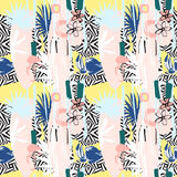 Seamless pattern of Hand drawn Tropical palm leaves, flowers, birds. Royalty Free Stock Photos