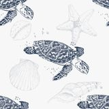 Seamless pattern with hand-drawn turtles. Sea background. Vintage background vector illustration