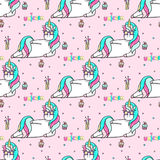 Seamless pattern with a hand drawn unicorn in a star-sunglasses, cocktail, cupcakes and lettering Unicorn Royalty Free Stock Image
