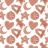 Seamless pattern. Hand drawn vector illustration - Gingerbread Cookies Royalty Free Stock Photos