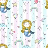 Seamless pattern with Hand drawn vector little mermaid.  Royalty Free Illustration