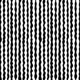 Seamless pattern, hand drawn vertical wavy lines. Vector monochrome seamless pattern, hand drawn vertical wavy lines, black & white endless texture. Design Stock Photos