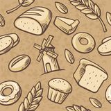 Seamless Pattern hand drawn vintage for bakery. Bread, grain, wheat, donut, cake mill and Cooking. Set Vector bakery symbols and i Stock Image