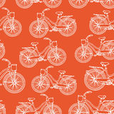 Seamless pattern with hand drawn vintage bicycles Stock Photography