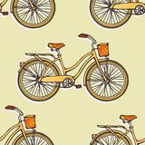 Seamless pattern with hand drawn vintage bicycles Stock Photos