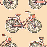 Seamless pattern with hand drawn vintage bicycles Royalty Free Stock Image
