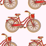 Seamless pattern with hand drawn vintage bicycles Royalty Free Stock Photography