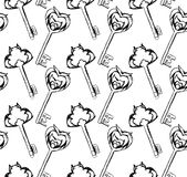 Seamless pattern of hand-drawn vintage keys Stock Images