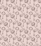 Seamless pattern of hand-drawn vintage keys Royalty Free Stock Photos