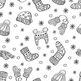 Seamless pattern with hand drawn warm clothes. Perfect vector holidays background royalty free stock photos