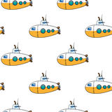 Seamless pattern. Hand drawn water kids toy submarine Royalty Free Stock Photo