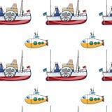Seamless pattern. Hand drawn water transpor. kids toy steamship, submarine Royalty Free Stock Photos