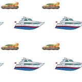 Seamless pattern. Hand drawn water transpor. kids toy yacht, submarine Royalty Free Stock Photos