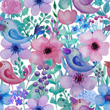 Seamless pattern with hand drawn watercolor birds and flowers. Stock Images