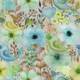 Seamless pattern with hand drawn watercolor birds and flowers. Stock Photography