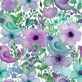 Seamless pattern with hand drawn watercolor birds and flowers. Stock Photo
