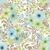 Seamless pattern with hand drawn watercolor birds and flowers. Stock Image