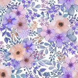 Seamless pattern with hand drawn watercolor birds and flowers. Royalty Free Stock Photography