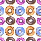 Donuts watercolor pattern vector illustration