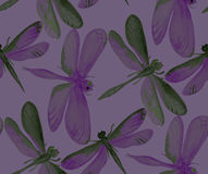 Seamless pattern with hand drawn watercolor dragonflies. Royalty Free Stock Photos