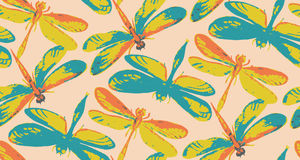 Seamless pattern with hand drawn watercolor dragonflies. Stock Photos