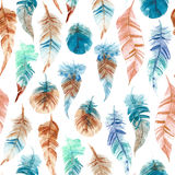 Seamless pattern of hand drawn watercolor feather Royalty Free Stock Images
