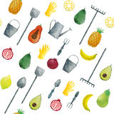 Seamless pattern hand drawn watercolor fruits and garden tools Stock Photography