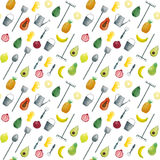 Seamless pattern hand drawn watercolor fruits and garden tools Stock Images