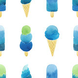 Seamless pattern with hand drawn watercolor ice cream. Royalty Free Stock Image