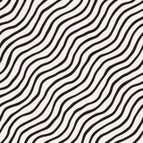 Seamless pattern with hand drawn waves. Abstract background with wavy brush strokes. Black and white freehand lines Royalty Free Stock Photo