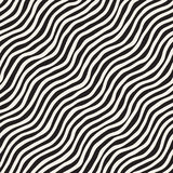 Seamless pattern with hand drawn waves. Abstract background with wavy brush strokes. Black and white freehand lines. Seamless pattern with hand drawn waves stock illustration