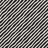 Seamless pattern with hand drawn waves. Abstract background with wavy brush strokes. Black and white freehand lines. Seamless pattern with hand drawn waves royalty free illustration