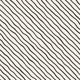 Seamless pattern with hand drawn waves. Abstract background with wavy brush strokes. Black and white freehand lines Stock Photos