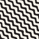 Seamless pattern with hand drawn waves. Abstract background with wavy brush strokes. Black and white freehand lines Royalty Free Stock Images