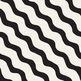 Seamless pattern with hand drawn waves. Abstract background with wavy brush strokes. Black and white freehand lines Stock Images