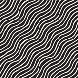 Seamless pattern with hand drawn waves. Abstract background with wavy brush strokes. Black and white freehand lines Stock Photo