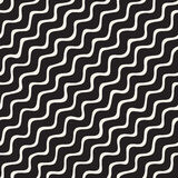 Seamless pattern with hand drawn waves. Abstract background with wavy brush strokes. Black and white freehand lines Royalty Free Stock Photography
