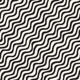 Seamless pattern with hand drawn waves. Abstract background with wavy brush strokes. Black and white freehand lines Stock Image