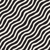 Seamless pattern with hand drawn waves. Abstract background with wavy brush strokes. Black and white freehand lines Royalty Free Stock Photos