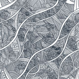 Seamless pattern with hand-drawn waves. In black and white colors Royalty Free Stock Image