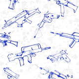Seamless pattern of hand drawn weapons. Royalty Free Stock Photos