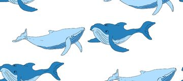 Seamless background with blue whales vector illustration